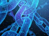 Digital chain. Blockchain technology concept.