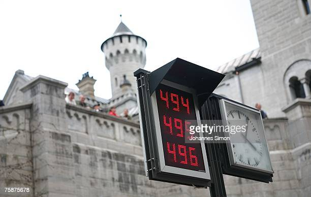 A digital chalkboard displayed in the front court of the castle Neuschwanstein shows ticket numbers on July 30 2007 in Schwangau Germany During the...