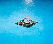 Digital Chip Island with House