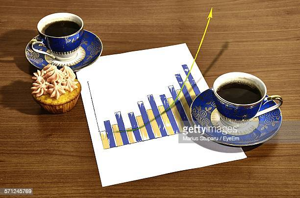 Digital Composite Image Of Arrow Raising From Graph With Breakfast On Table