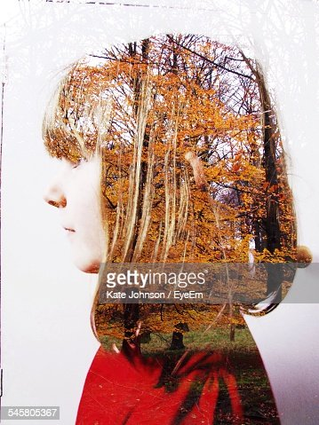 Digital Composite Image Of Young Woman With Autumn Trees