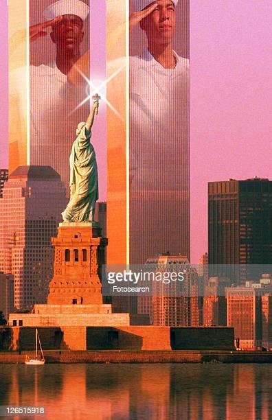 Digital composite: New York skyline, American sailors, World Trade Center, Statue of Liberty