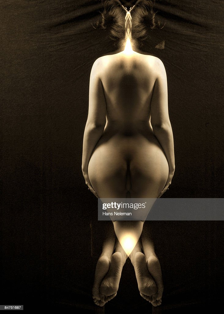 Digital composite of a nude woman, rear view. : Stock Photo