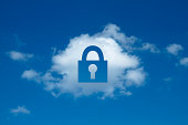 Digital composite of cloud with padlock shape cut out, secure cloud computing