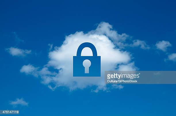 Digital composite of cloud with padlock shape cut out, secure cloud computing