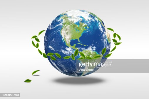 Digital composite of earth and greenn leaf : Foto stock