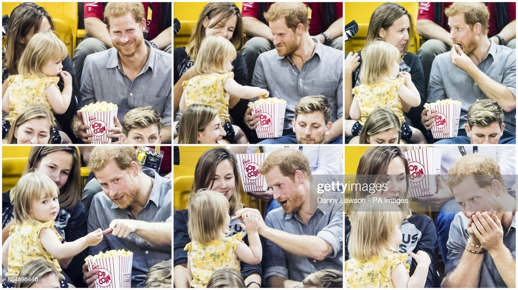 Digital composite of six photographs showing Prince Harry shareing his pop corn with Emily Henson, daughter of Hayley Henson (left) as he attends the Sitting Volleyball Finals at Mattamy Athletic Centre during the 2017 Invictus Games in Toronto, Canada.