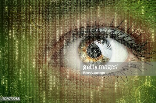 Digital data and eye : Stock Photo