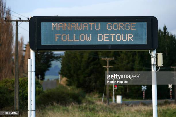 Digital dignage displays a message relating to the road closure at Manawatu Gorge on July 7 2017 in Palmerston North New Zealand The highway was...