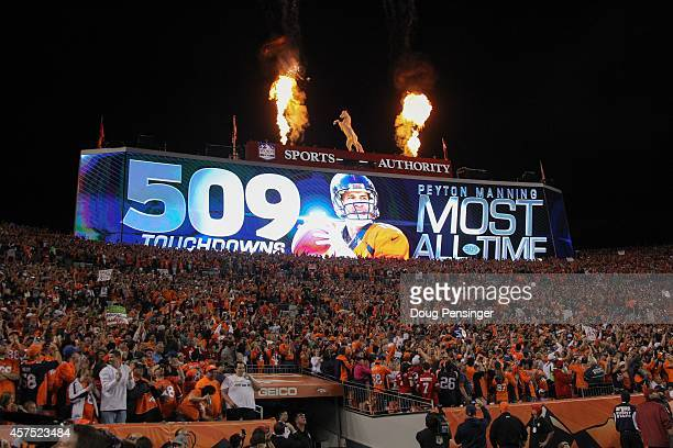 A digital display commemorates the NFL record 509th career passing touchdown by quarterback Peyton Manning of the Denver Broncos in the second...