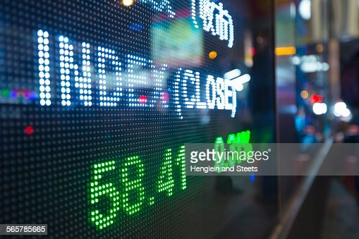 Digital display for stock market changes, Hong Kong, China
