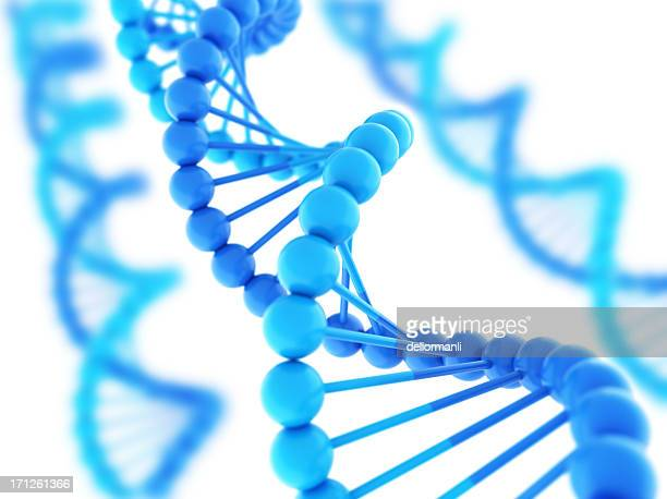Digital DNA strands in varying shades of blue