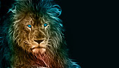 Digital drawing of a tigerDigital drawing of a lion