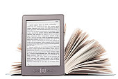 Electronic book reader with LOREM IPSUM text and thick paper book over white background