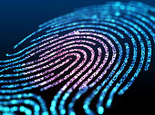 Digital fingerprint on a black background close up. 3d illustration.