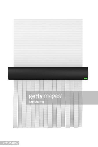 Digital illustration of a paper shredder shredding paper