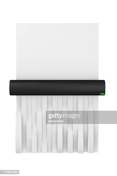 Digital illustration of a paper shredder shredding paper