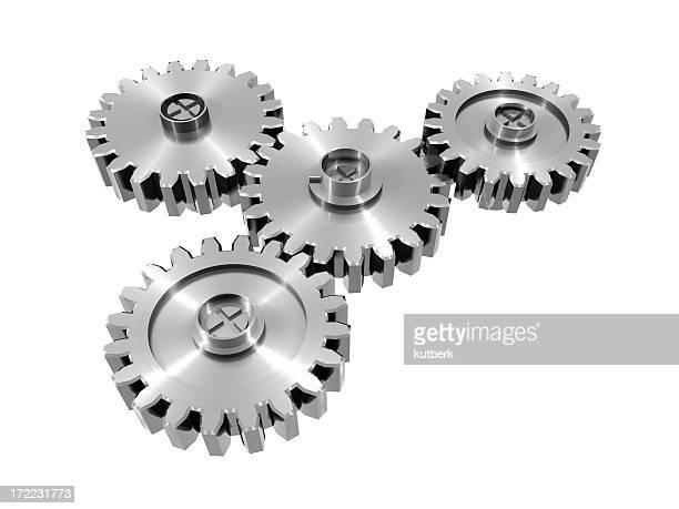 Digital illustration of metal cog wheels on white background