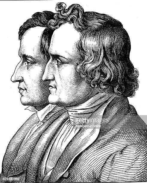 Digital improved image of jacob and wilhelm grimm the brothers grimm 1785 1863 portrait historical illustration 1880
