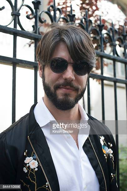 Digital Influencer Kadu Dantas wears a Zara jacket Armani shirt and Dior sunglasses on day 3 of Paris Collections Men on June 24 2016 in Paris France...