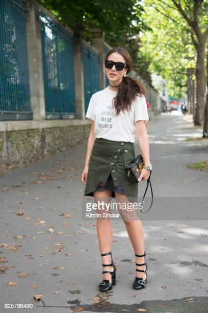 Digital Influencer Tamara Kalinic wears a Dior T shirt and Necklace Self potrait skirt Louis Vuittton bag Gucci shoes and sunglasses day 1 of Paris...
