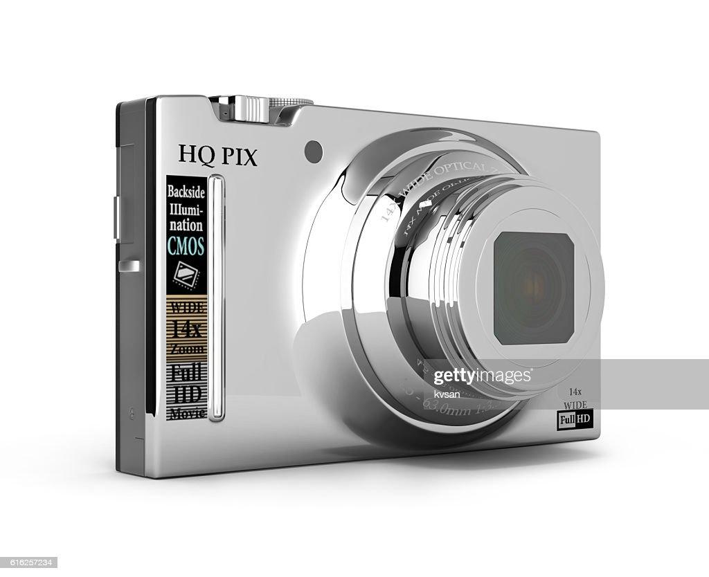 Fotografía digital cámara aislado sobre un fondo blanco Representación en 3d : Foto de stock