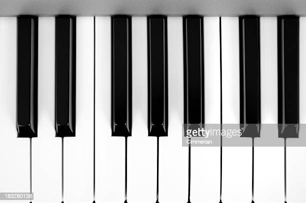 Digital piano keys close-up