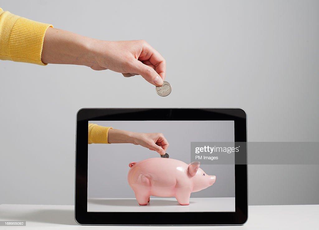 Digital Piggy Bank : Stock Photo
