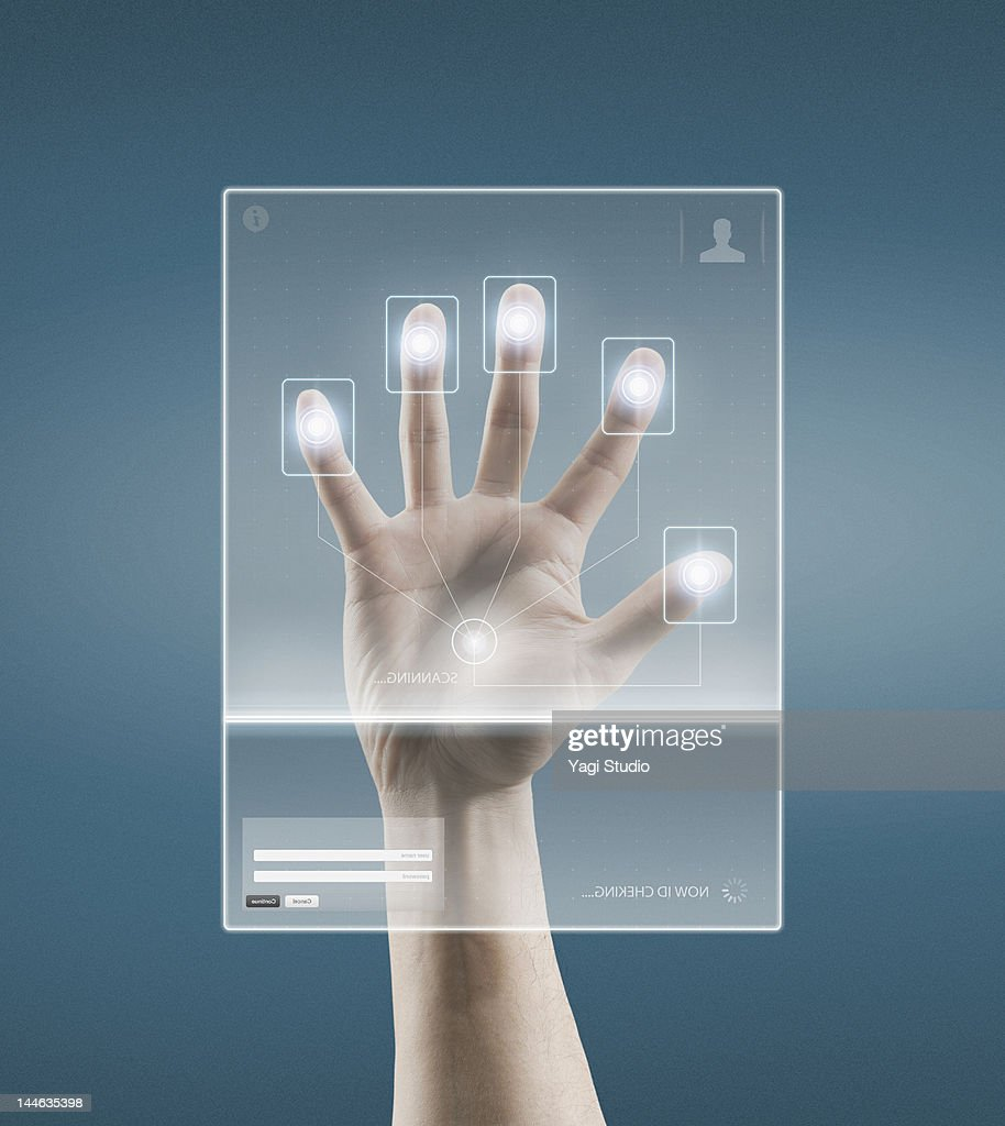Digital scan of a Hand : Stock Photo