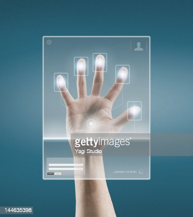 Digital scan of a Hand : Stock-Foto