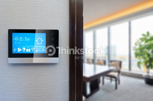 digital screen in modern meeting room : Stock Photo