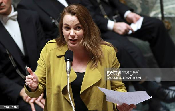 Digital Sector and Innovation Junior Minister Axelle Lemaire speaks during a session of questions to the government on November 29 2016 at the...