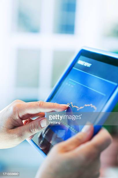 Digital Tablet Mobile Technology for Viewing Financial Chart and Graph