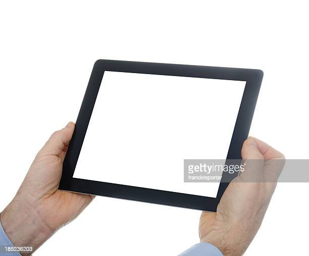 Digital tablet on isolated background with blank screen