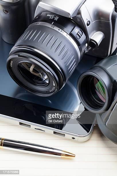 Digital tablet with camera, binoculars and pen