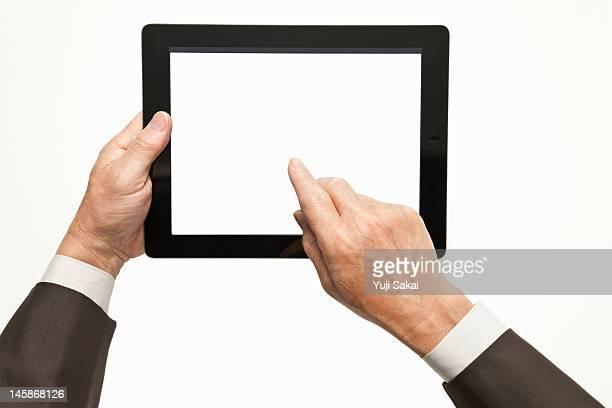 digital tabret with man