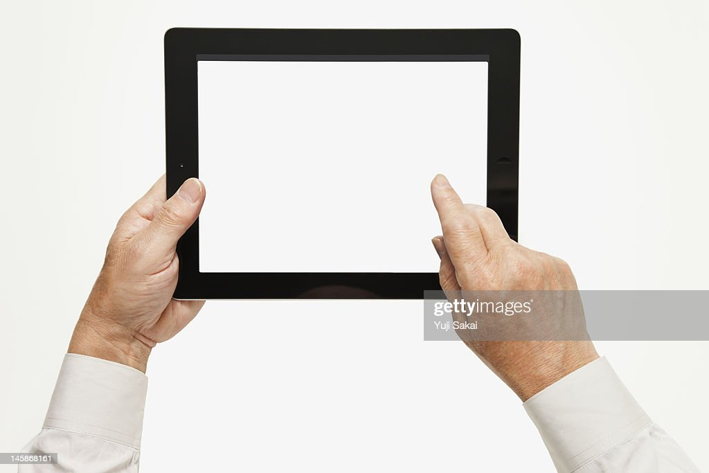 digital tabret with man : Stock Photo