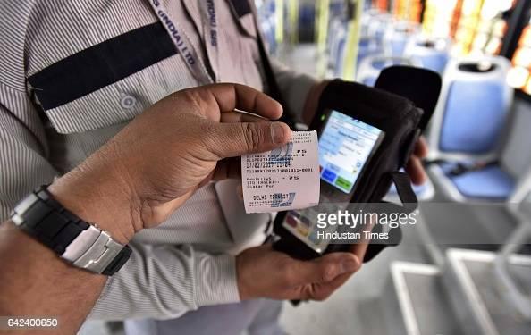Digital ticket system installed in 100 new cluster buses at Delhi Secretariat on February 17 2017 in New Delhi India