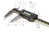 Digital vernier calipers, isolated on drawing background with clipping path