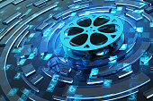 Film reel on blue technology background with computer code and abstract circles