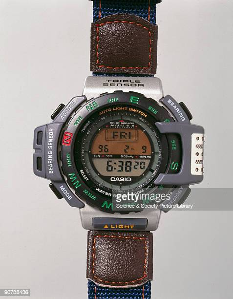 Digital watch with altimeter barometer and thermometer functions made by Casio Electronics Co Ltd The development of extremely cheap relatively...