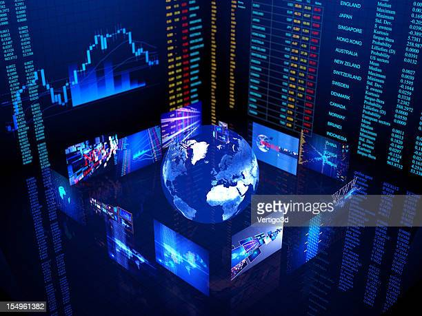 Digital world business center in blue with lights