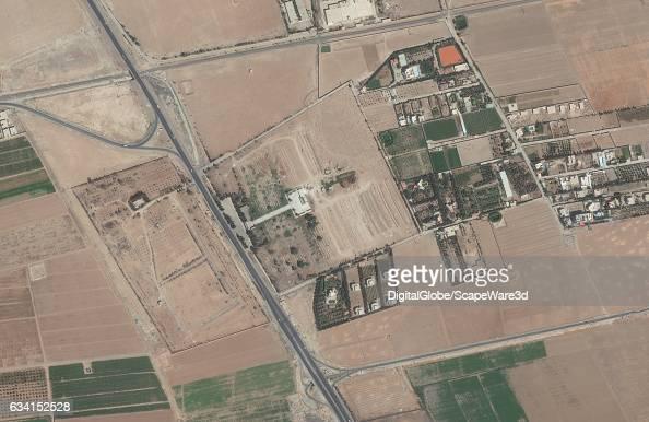 GRAVEYARD DAMASCUS SYRIA SEPTEMBER 18 2016 DigitalGlobe imagery of a graveyard south of Damascus Syria Image 2 fo 2