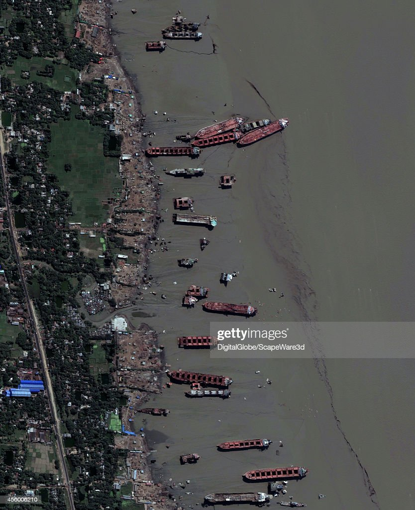 DigitalGlobe satellite image shows a stretch of the Bangladeshi coast just north of Chittagong where ships from around the world are beached and...