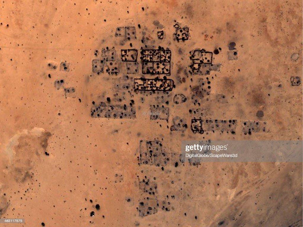 SHANGIL, TOBAY, SUDAN - DECEMBER 18, 2006: DigitalGlobe Satellite Imagery of damage to the village of Shangil in the Tobay Shadad region in Sudan. Photo DigitalGlobe via Getty Images.