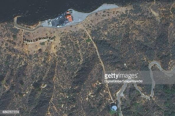 ANGELES CALIFORNIA USA NOVEMBER 22 2016 DigitalGlobe satellite imagery of the Hollywood Sign in Los Angeles California