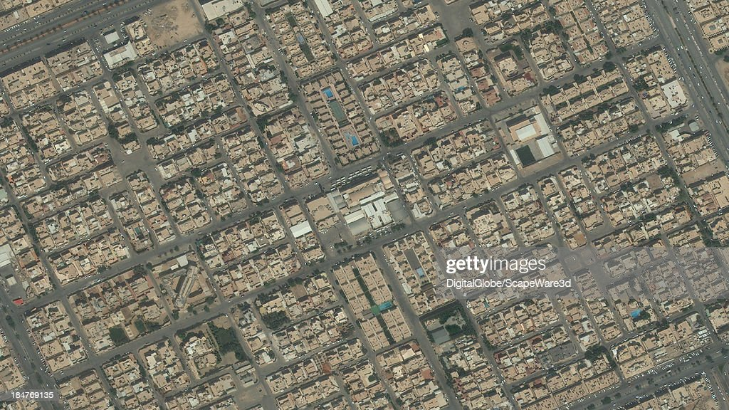 DigitalGlobe Satellite Imagery of the King Fahd district, Riyadh, Saudi Arabia.
