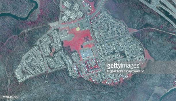DigitalGlobe AFTER2 infrared satellite image of a Fort McMurray neighborhood in Alberta following the devastating wildfire that destroyed the town...