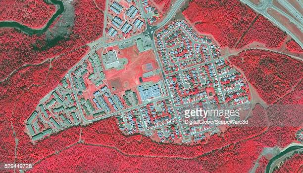 DigitalGlobe BEFORE2 infrared satellite image of a neighborhood in Fort McMurray Alberta Canada before the devastating wildfire hit the town Image...