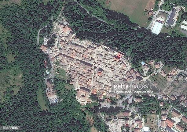 AMATRICE ITALY AUGUST 25 2016 DigitalGlobe closeup satellite image of the village of AmatriceAFTER the earthquake hit on August 24th 2016